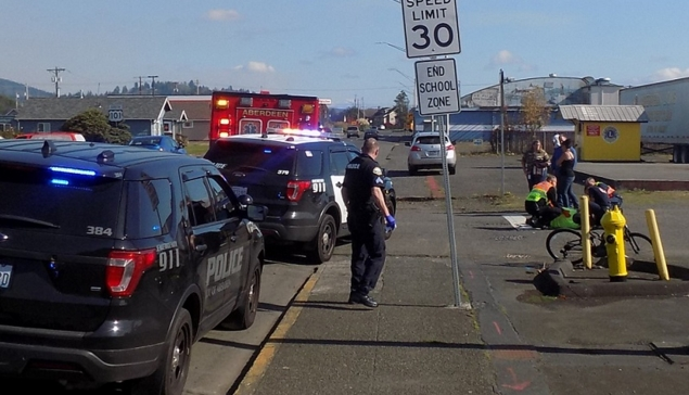 Aberdeen Man Transported To Hospital After Bicycle Vs. Pickup Injury Collision